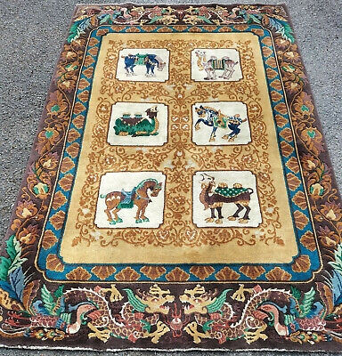 £595 • Buy HAND MADE RARE AND COLLECTABLE CHINESE PICTORIAL RUG 1.83mtr X 1.22mtr
