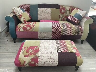 £355 • Buy DFS Bright Shout Patchwork Sofa Footstool And Scatter Cushions