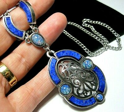 £8.37 • Buy Vintage Jewellery Signed Miracle Scottish Celtic Lapis Fire Opal Drop Necklace