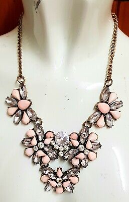 £3.20 • Buy Pre Loved Crystal Large Statement Pink  Necklace Vintage Costume Jewellery