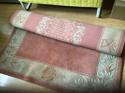 £25 • Buy  Chinese Style  Wool Rug Thick Pile , Pink. 60 Inch X 97 Inch …