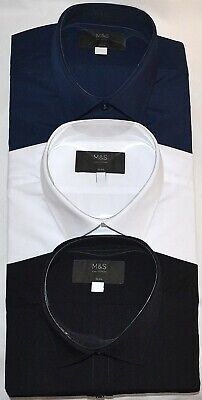 £19.99 • Buy Mens M&s Collection 3 Pack Easy Iron Slim Fit Shirt Long Sleeve Size 19 Bnwt
