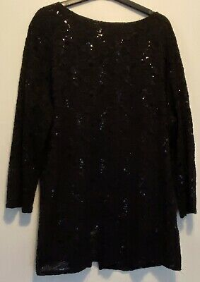 £5.99 • Buy Forever By Michael Gold Ladies Black Sequin Lace Top With Fitted Cami  Size XL