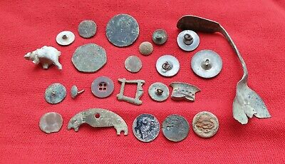 £1 • Buy Metal Detecting Finds Job Lot Roman Coins Silver Sixpence Buttons & Artefacts