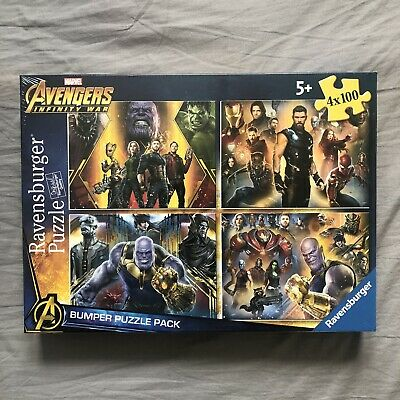 £10 • Buy Marvel Avenger Infinity War Bumper Puzzle Pack 4 X 100 Jigsaw Puzzles New Sealed