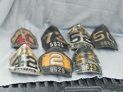 £654.69 • Buy Vintage New York Fire Department Cairns & Bros Leather Helmet Shields Lot Of 7