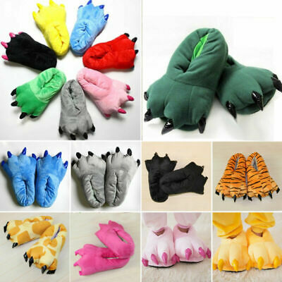 £7.98 • Buy Adult Kids Animal Monster Feet Slippers Claw Dinosaur Paw Plush Funny Shoes Size