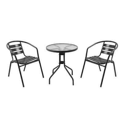 AU207 • Buy Cancun 2 Seater Steel Cafe Setting Black 3 Piece Outdoor Setting