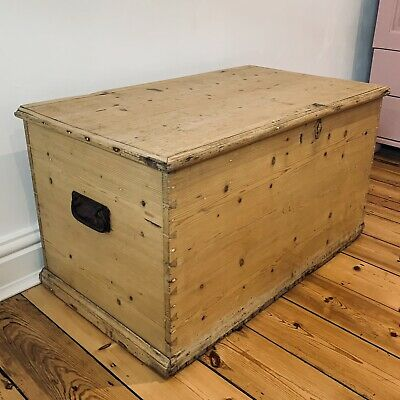 £140 • Buy Old PINE CHEST, ANTIQUE Wooden Blanket TRUNK, Coffee TABLE, Storage BOX, Vintage