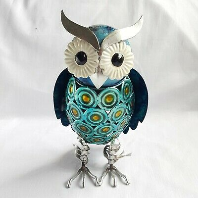 £9.99 • Buy Small Blue Metal Owl Ornament Statue Figure Garden Indoors Outdoors Hand Painted