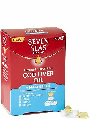 £7.70 • Buy Seven Seas Cod Liver Oil Omega-3 With Magnesium, 60 Capsules
