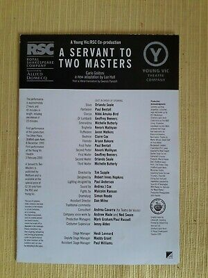 £2 • Buy Cast List - A Servant To Two Masters - RSC/Young Vic Theatre - 2000