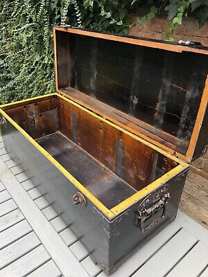 £140 • Buy Vintage Wooden Chest Trunk Painted Black Chippy Paint