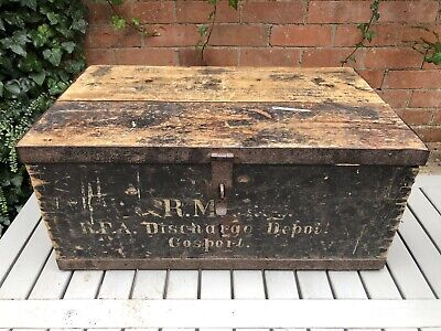 £125 • Buy Vintage Wooden Pine Chest Trunk Coffee Table Chippy Paint Painted Royal Navy