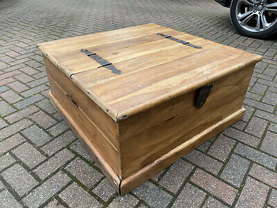 £30 • Buy Large Wooden Storage Chest Brown Ottoman Trunk