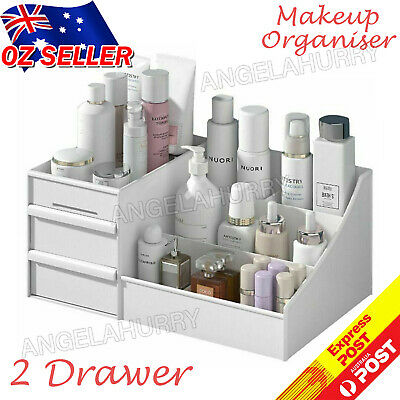 AU14.99 • Buy Makeup Organiser Storage Box Jewelry Tissue Cabinet With 2 Drawer Case NEW
