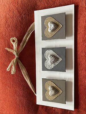 £5 • Buy Decoupage Heart Picture With Hessian Ribbon Hanging
