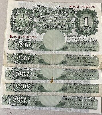 £5 • Buy BANK OF ENGLAND USED 1 NOTE -5no D.S.BEALE