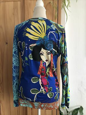 £1.99 • Buy Desigual Bright Bold Print Jersey Top In Size L