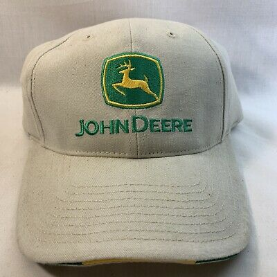 £5.84 • Buy John Deere Tan & Green Embroidered  Baseball Hat New Condition Strap Back
