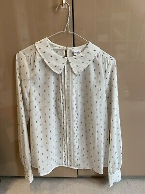£4 • Buy Peter Pan Collar Blouse Size XS Cream With Black Pattern Urban Outfitters