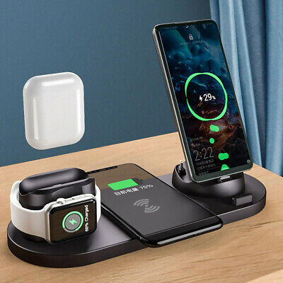 AU28.49 • Buy AU 6in1 Qi Wireless Charger Dock Charging Stand For IWatch IPhone 12 13 Pro XS 8