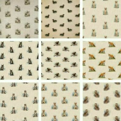 £7.99 • Buy Digital Animal Linen Look Cotton Rich Fabric All Over Upholstery Cushions