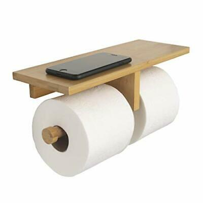 AU44.41 • Buy  Modern Hanging Wall Mount Natural Bamboo Double Dual Toilet Paper Holder With