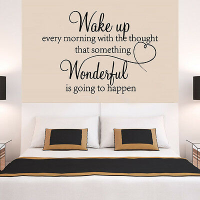 £3.95 • Buy WAKE UP Butterfly LOVE Quote Wall Stickers Bedroom Removable Decals DIY UK