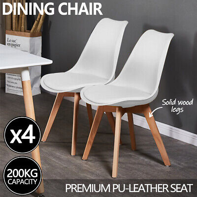 AU125 • Buy 4x Kitchen Dining Chairs Chair Replica PU Leather Cafe Chair Wooden Legs White