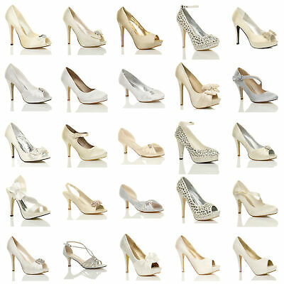 £9.99 • Buy Womens Ladies Wedding Evening Sandals Bridal Prom Party High Heel Shoes Size