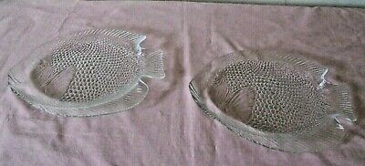 £2.99 • Buy Pair French Arcoroc Textured Clear Glass Fish Shape Serving Dishes / Plates