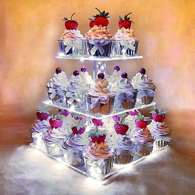 £39.59 • Buy 3 Tier Acrylic Cupcake Stand Light Up Cake And Dessert Square Display