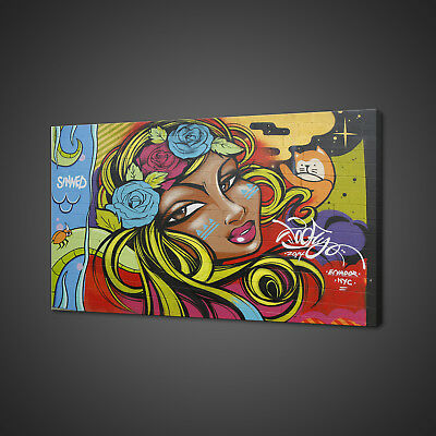 £39.99 • Buy Woman With Flowers In Hair Mural Graffiti Canvas Print Wall Art Picture Photo