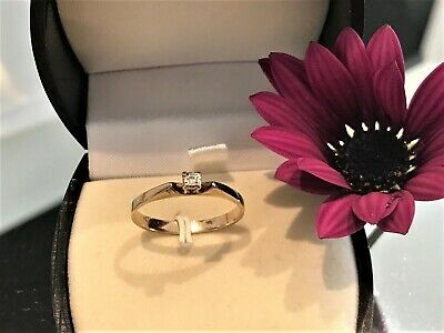 AU130 • Buy 9CT GOLD - Young Ladies Solitaire Diamond Ring - Friendship, Love Or Both