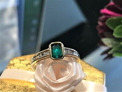 AU315 • Buy Gorgeous 9ct Yellow Gold Emerald With Chanel Set Diamond Shoulders Ring
