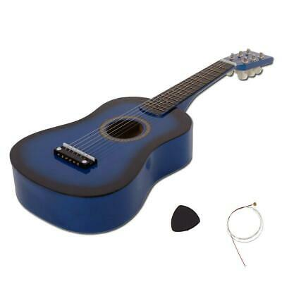 £11.59 • Buy New 23  Plywood 15 Frets Acoustic Guitar Blue W/ 6 String For Children Kids