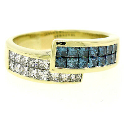 AU1395.21 • Buy 18K Yellow Gold 1.55ctw Invisible Blue & White Princess Diamond Bypass Band Ring