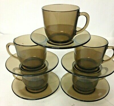 £6 • Buy Arcoroc France Smoked Brown Glass Tea Cups And Saucers X5