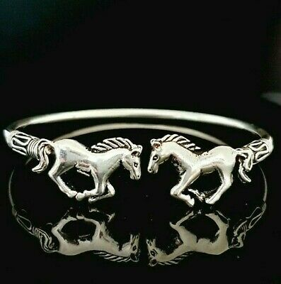 £64.95 • Buy Ladies 925 Sterling Silver Oxidised Two Horse Equestrian Cuff Bangle Bracelet