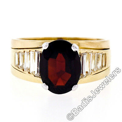 AU2928.95 • Buy 18K Yellow Gold Oval Faceted Garnet Solitaire 1.18ctw Baguette Step Diamond Ring