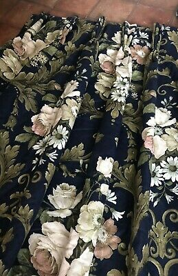 £26 • Buy SANDERSON Curtains INTERLINED Cabbage Roses Floral EXTRA LONG Bespoke Pair 1 Of2