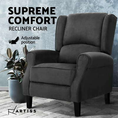 AU317.61 • Buy Artiss Recliner Chair Adjustable Sofa Lounge Soft Suede Armchair Couch Charcoal
