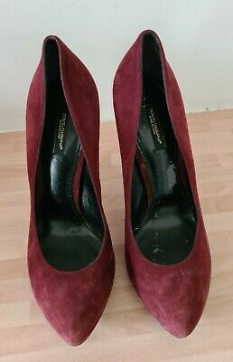 £50 • Buy Dolce Gabbana High Heels Shoes Womens Size 5 Suede Leather Burgundy