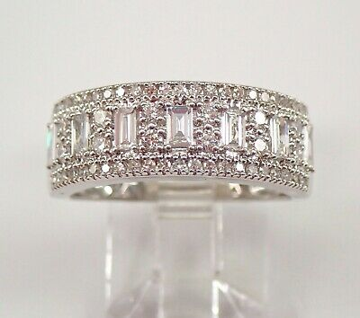 AU2040.88 • Buy Round And Baguette Diamond Wedding Ring Anniversary Band 14K White Gold Size 7