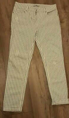 £2.99 • Buy Next Relaxed Skinny Mid Rise Distressed White/blue Stripe Jeans Size 10R Ex/cond