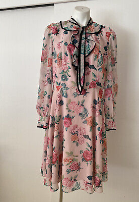 AU49 • Buy Review Size 16 Pink Margaux Dress With Roses Long Sleeves .