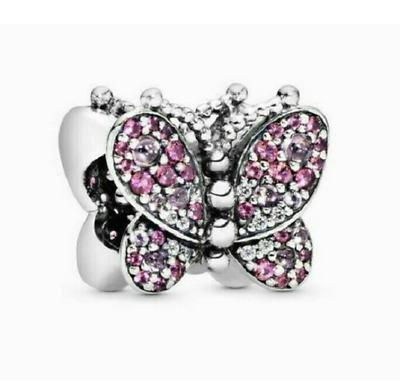 AU15.50 • Buy Genuine Pandora Silver S925 ALE 797882 Dazzling Pink Butterfly Crystal Charm ##