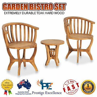 AU249.90 • Buy 3 Piece Garden Bistro Set Table Chairs Outdoor Furniture Setting Solid Teak Wood