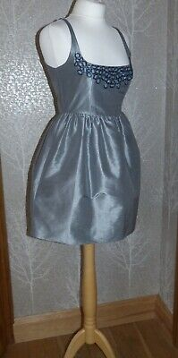 £15 • Buy Stunning Kate Moss Silver Silk Mix Beaded Fit N Flare Pockets Dress Uk 10